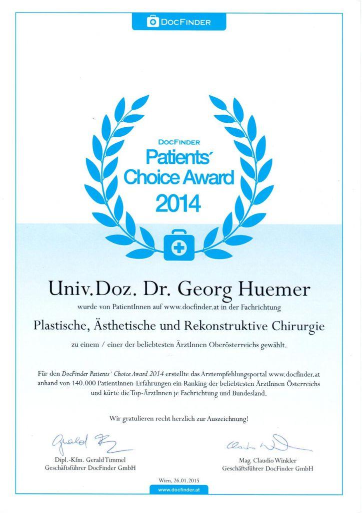 Docfinder Award 2014 Schönheitschirurg