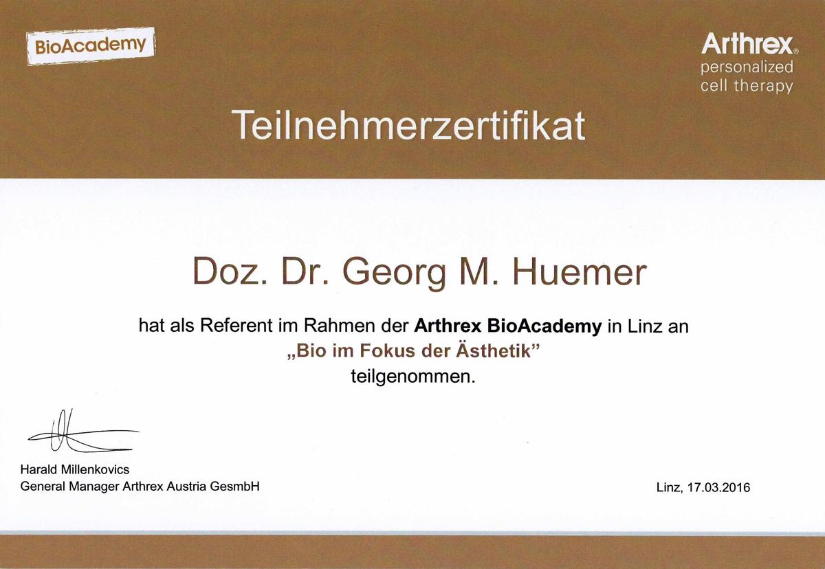 Dr. Huemer - Zertifikat Bio im Fokus der Ästhetik